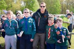 Bear Grylls flies in to meet Scouts