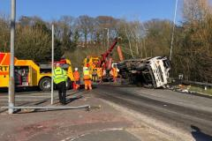 Road closures as lorry overturns on Wilmslow bypass