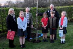 Commemorative oak tree dedicated to loyal parish groundsman