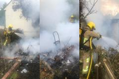 Out of control garden fire spreads to shed and outbuilding