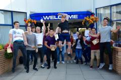 A level students are jumping for joy at Wilmslow High