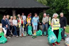 Volunteers help with park clean up