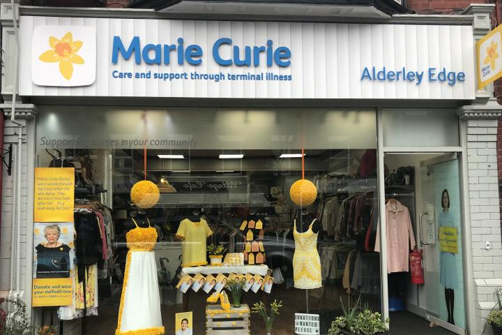 Marie Curie's Alderley Edge shop has unveiled a ball gown covered in more than 1,000 daffodil pin badges to celebrate the Great Daffodil Appeal (2) copy