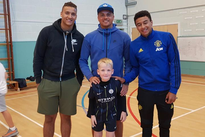 Kyle  with Reece Brown, Wes Brown, Jesse Lingard